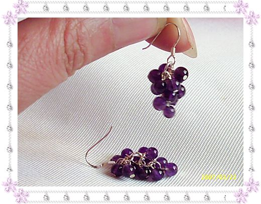 紫水晶葡萄耳坠(925银耳钩)45.00