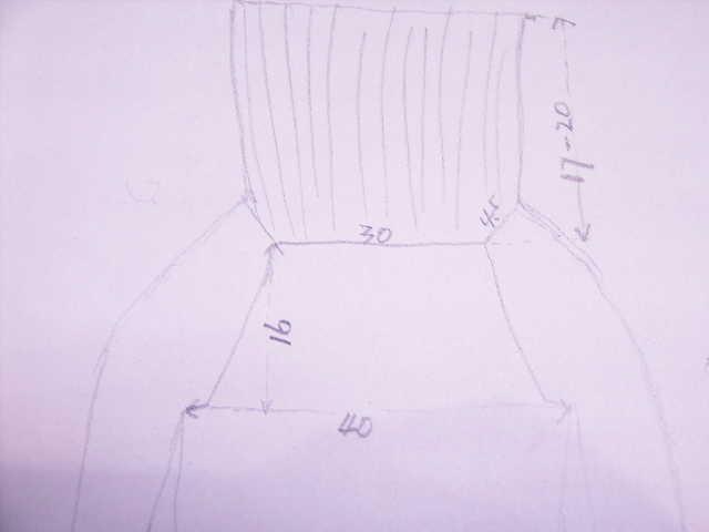 桃红色高腰`低领毛衣的编织草图1