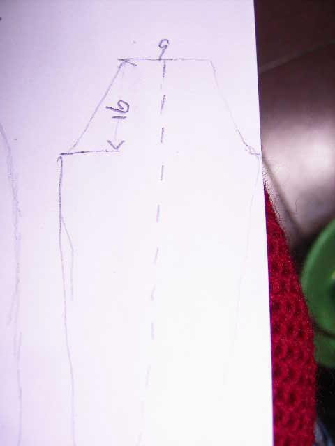桃红色高腰`低领毛衣的编织草图2