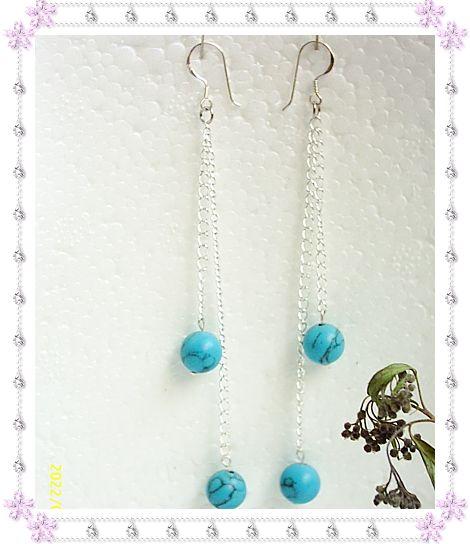 (售出)925银耳钩+蓝松石,售价8.00元