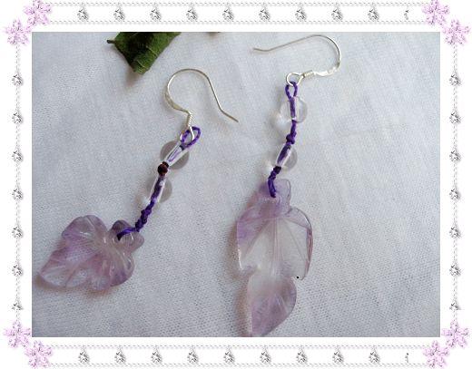 天然紫晶不对称耳坠