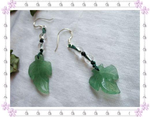 天然绿东陵不对称耳坠