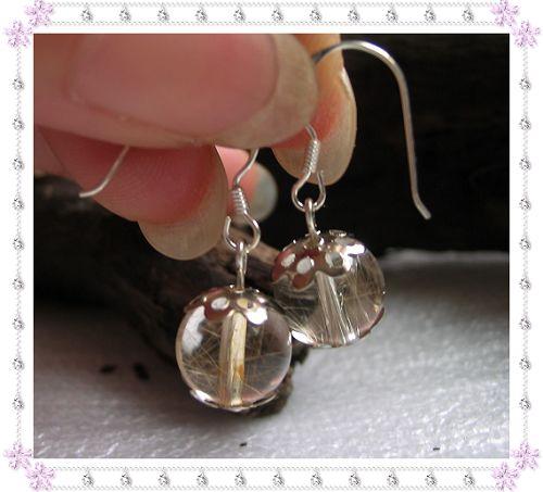 (售出,暂无货)925银耳钩+天然金发晶10.00元