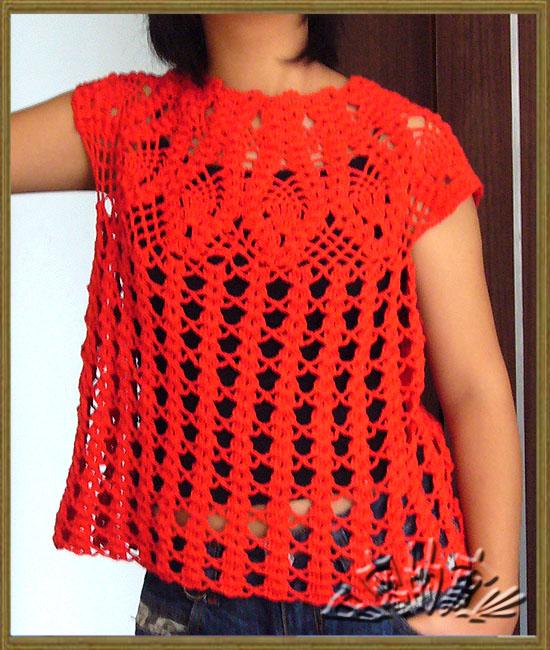 专题 红色菠萝       田蜜 版块:[钩针编织作品秀]仿的菠萝花小衫,用