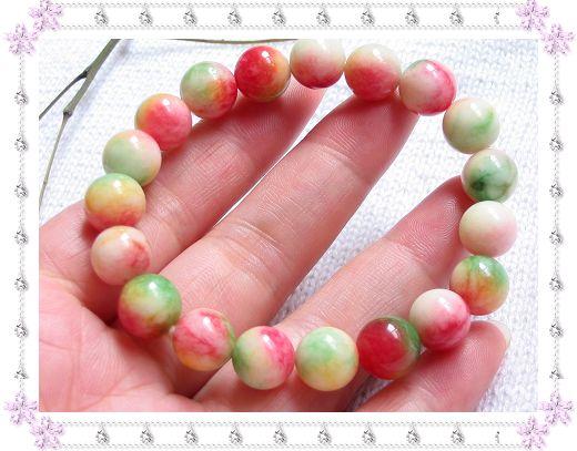 (古色古香中国风)天然花绿石9.5MM圆珠手链,售价29.00元