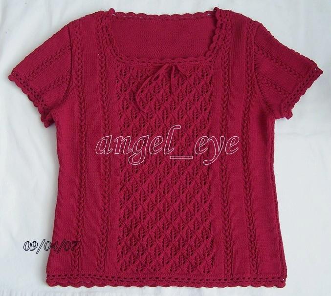 春夏红衫 棉线12股,3.5毫米针