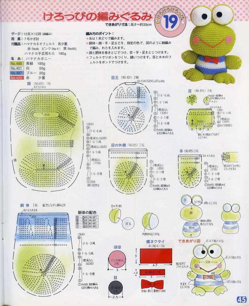 钩针编织小动物_夏夜小筑的口袋; 原图及图解:; [转载]小青蛙
