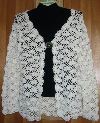 69 钩针编织作品秀 69 2005-2010年归档 69 白色的扇形花样开衫
