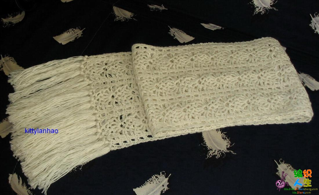 新完工的围巾:白色小菠萝花上图解了