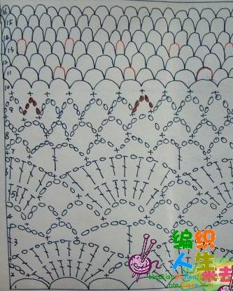 边上是钩的花边围巾的图解