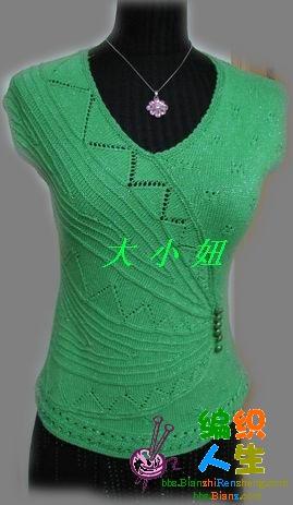 玫瑰狐家的果绿细棉线衣,用量0.35J,加一股金丝线,五月女人花---丝丝入扣