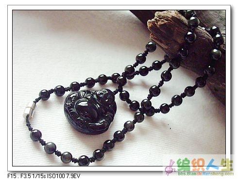 天然黑曜石项链(+佛坠),珠粒带彩虹眼,售价90.00元