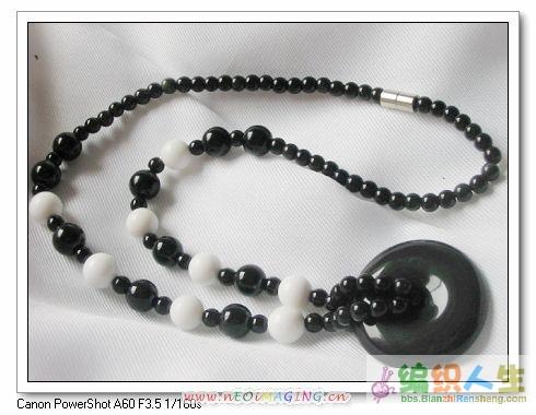 黑白经典项链,(黑曜石平安扣坠)160.00元