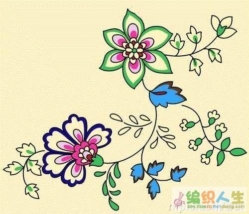 求花卉刺绣图