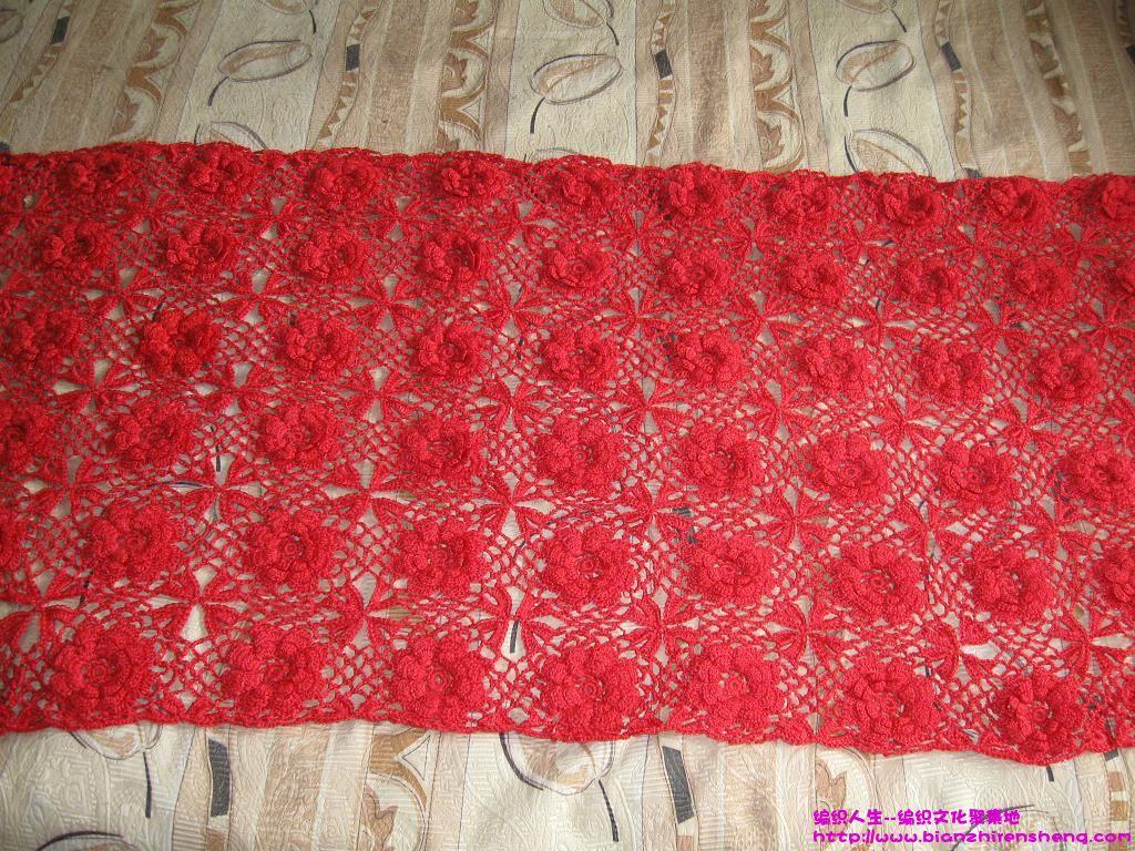 我钩的红色玫瑰花床罩-老山羊_编织人生论坛