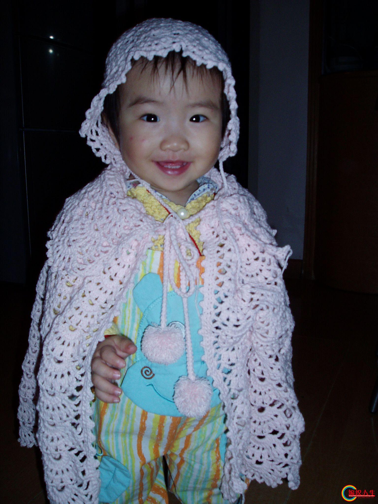粉嫩的宝宝披肩帽子——米米家的圆棉水粉色高清图片