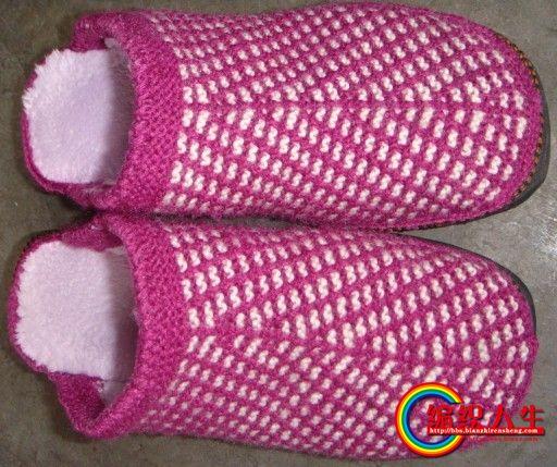 棒针织的毛线拖鞋1(编织过程)【第4页新添花样编织过程的图片】