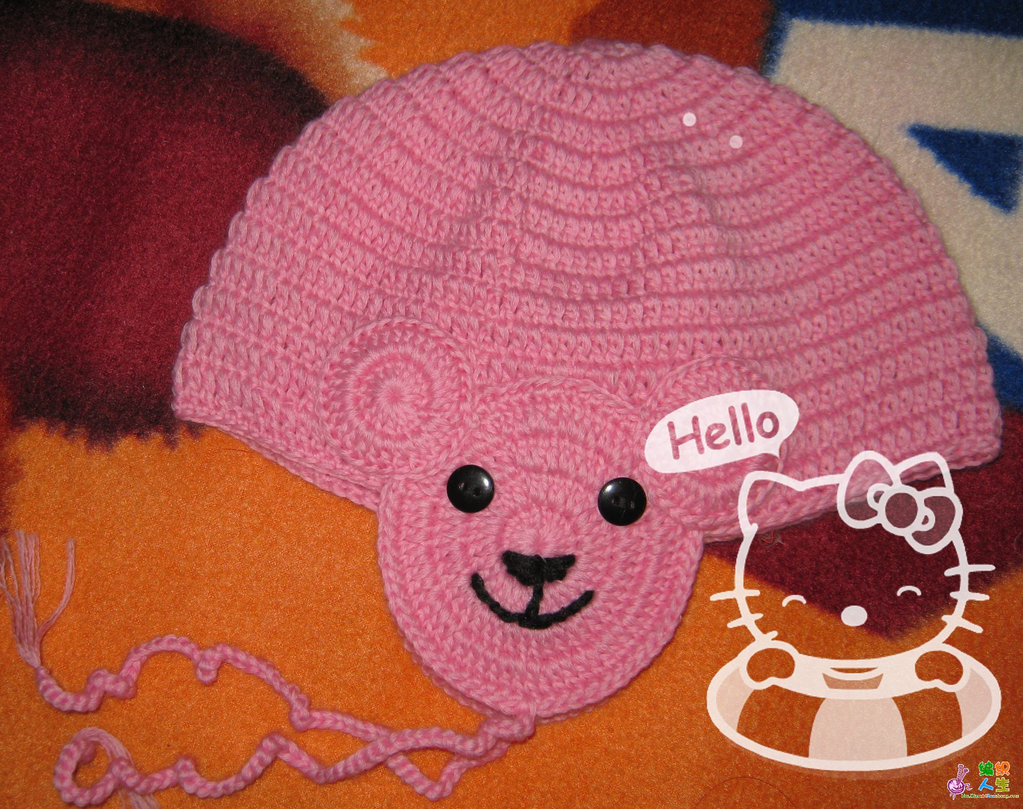 钩针编织作品区 69 披肩围巾帽子(钩针) 69 再传粉色护耳小熊帽