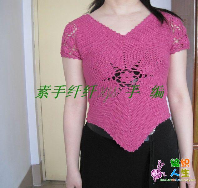 素手纤纤作品,文静家的玫红金丝棉.jpg