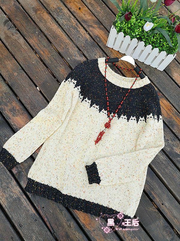 女士棒针猫咪图案毛衣