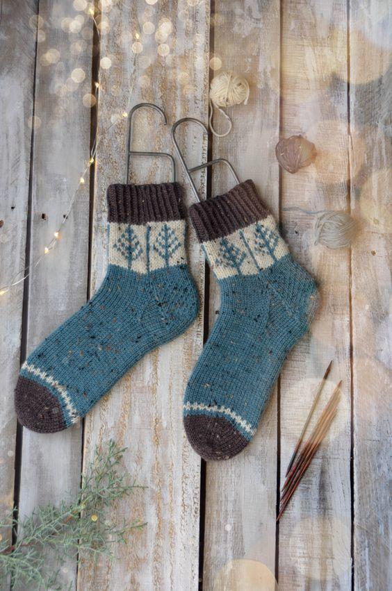 提花毛线袜