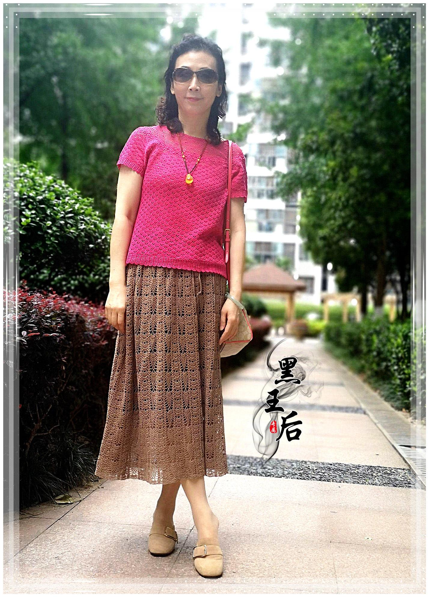 女士钩针A型长裙