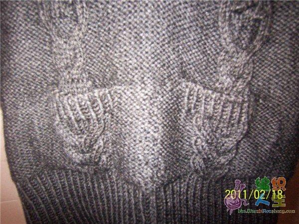 仿优雅低V领麻花七分袖毛衣口袋