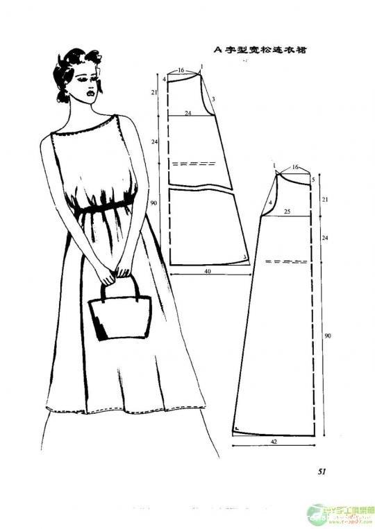 连衣裙裁剪图_91款连衣裙的裁剪图_服装设计与裁剪_编织人生论坛