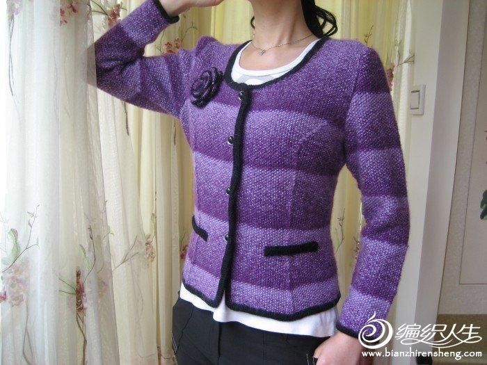 小香风西服式棒针毛衣