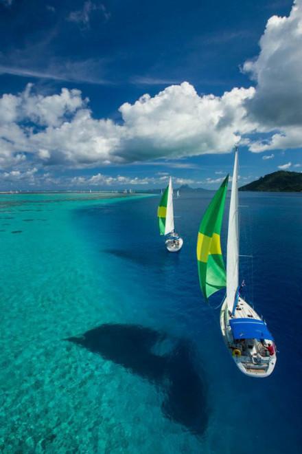 海滩,赖阿特亚岛 - 法属波利尼西亚 天空之海啊!