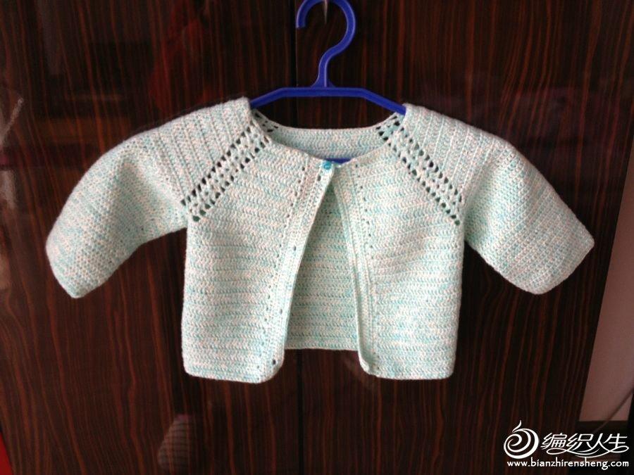 从上往下钩宝宝开衫 插肩毛衣