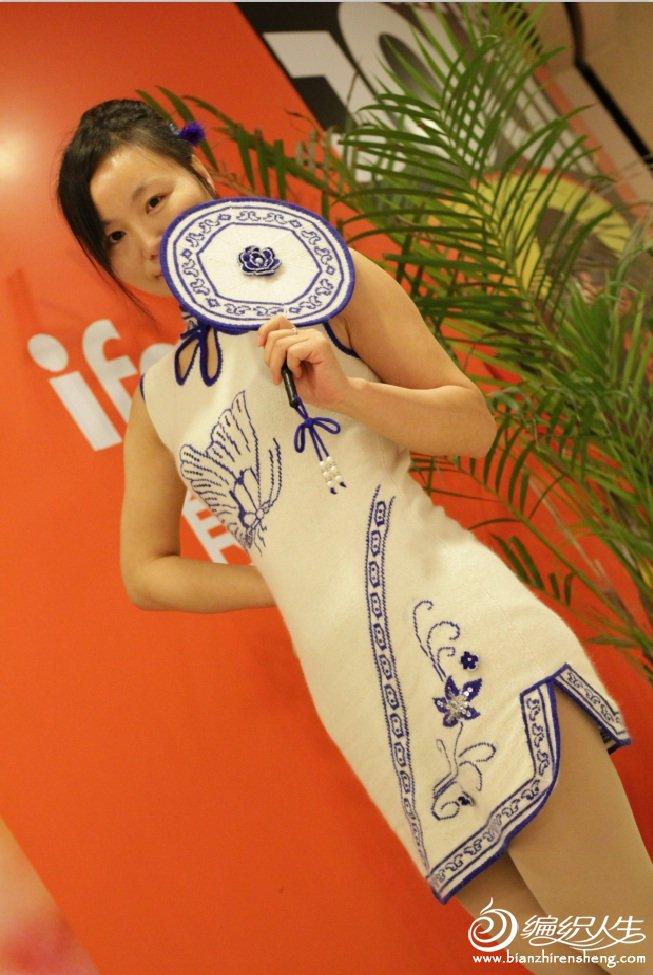青花瓷棒针旗袍
