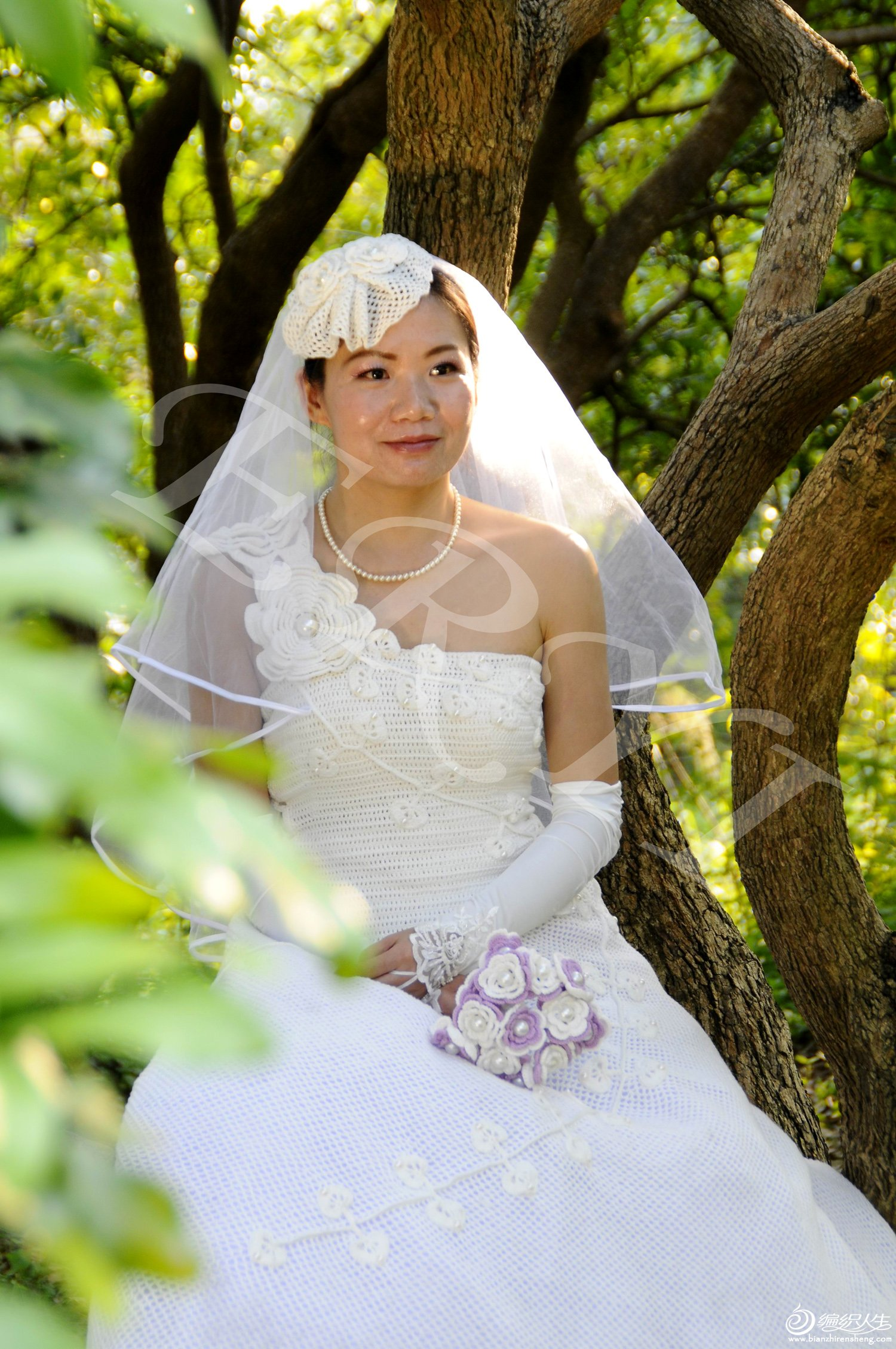 毛线钩花婚纱
