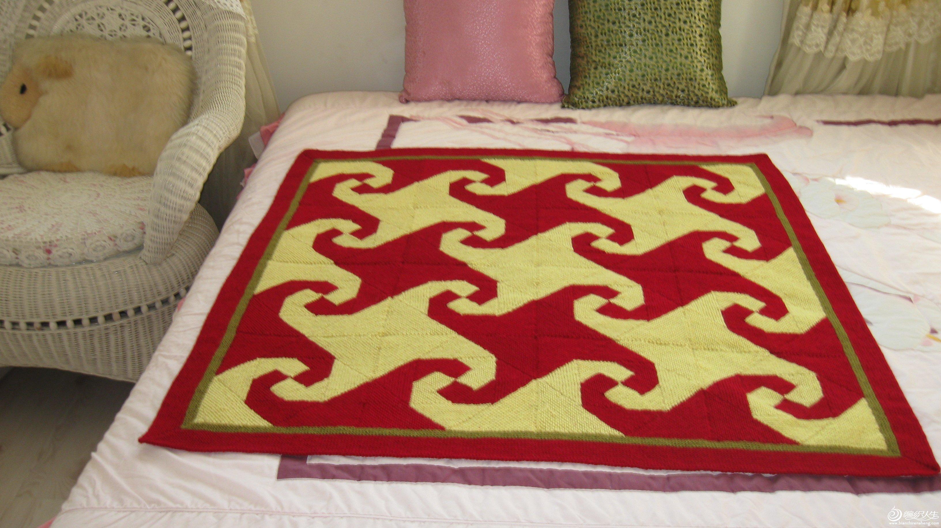 棒针拼布风格毯子