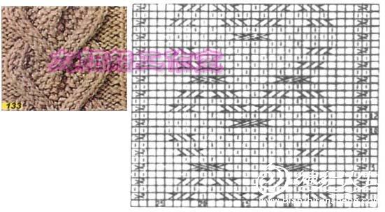 前片心形花样参照图,成衣的心形花样针数是20针[中间4针平针,两边各8针反针]