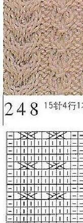 Y型花参照图解,成衣织的是8针的Y型花,所以就在第8行的时候扭下一次的花型