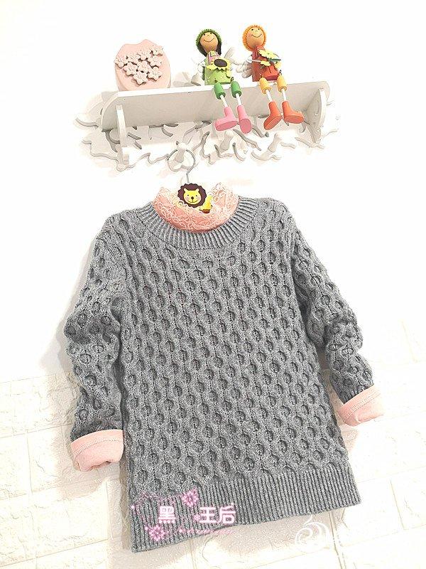 儿童棒针圆领羊绒衫
