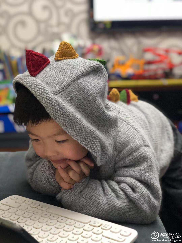 儿童棒针连帽毛衣