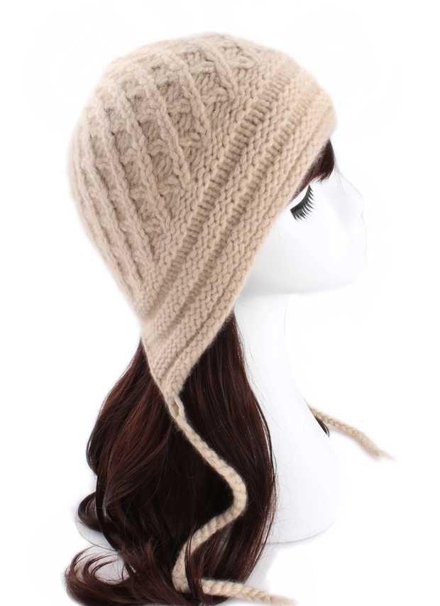 女士棒针羊绒帽