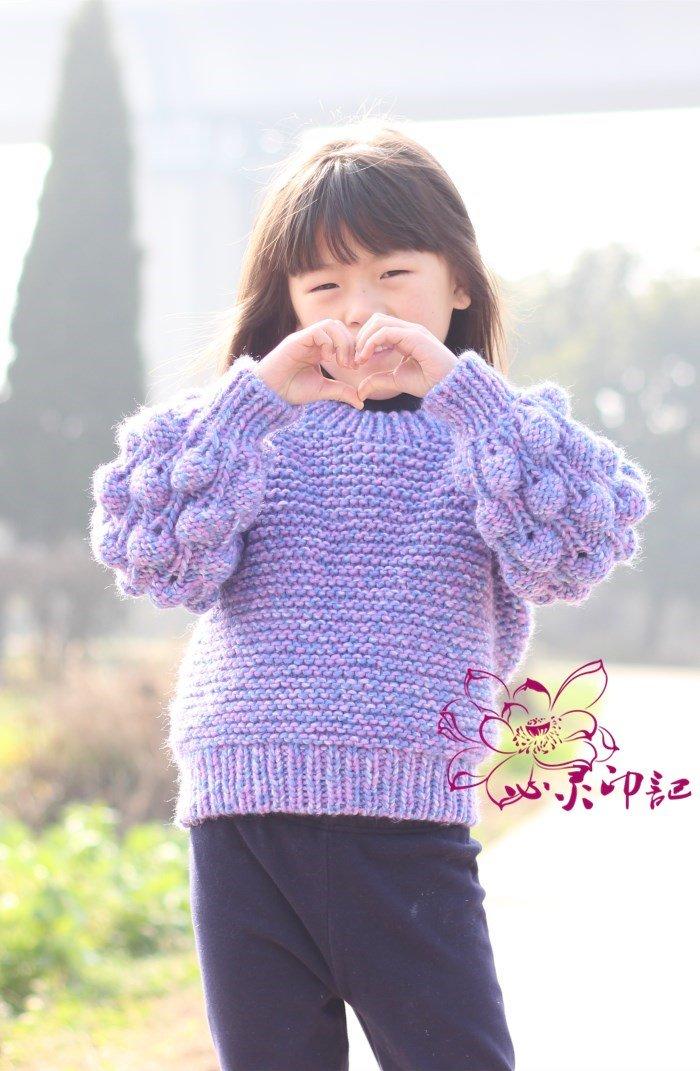 儿童棒针泡泡针毛衣