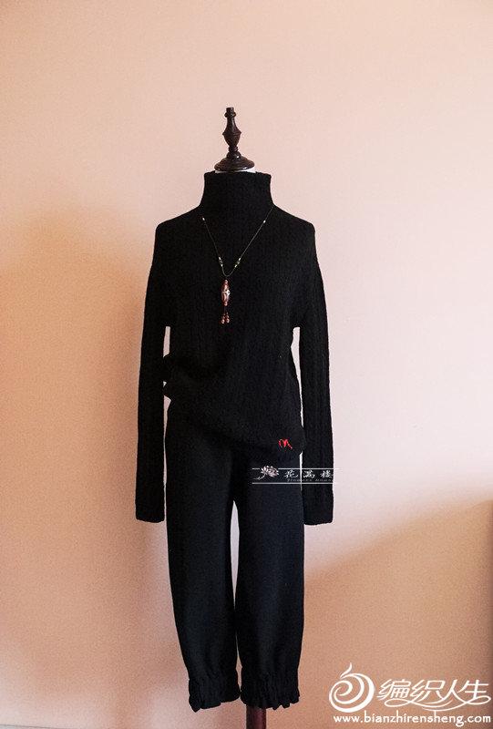 女士棒针高领麻花羊绒衫