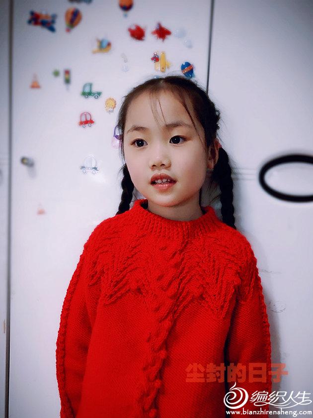 儿童棒针红毛衣