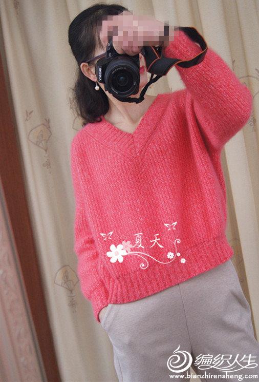 女士棒针V领羊毛衫