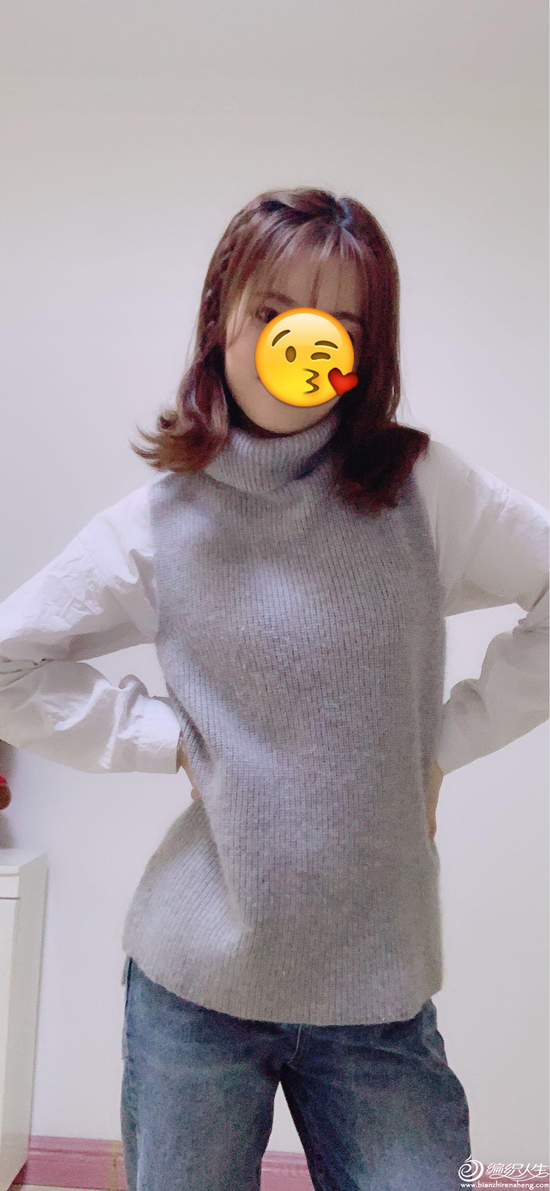 女士棒针羊绒背心