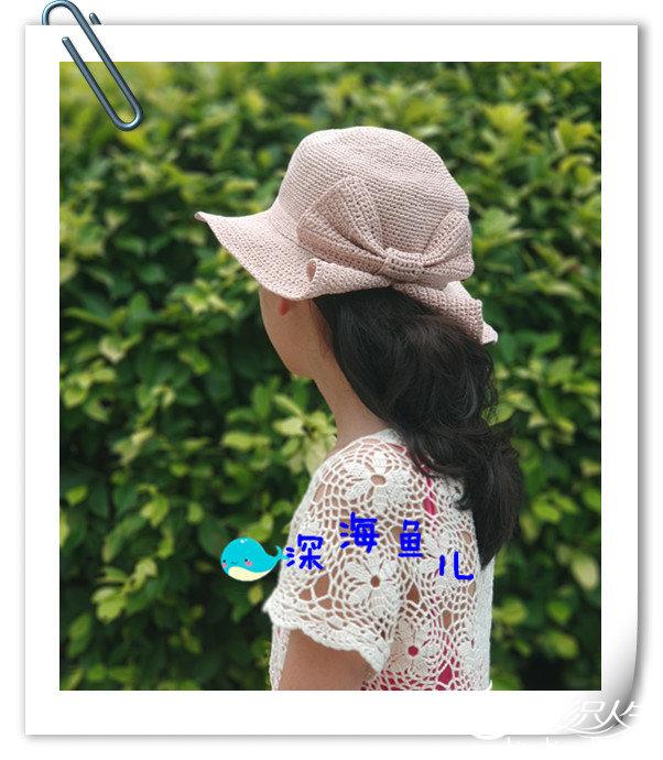鉤針蝴蝶結棉草帽