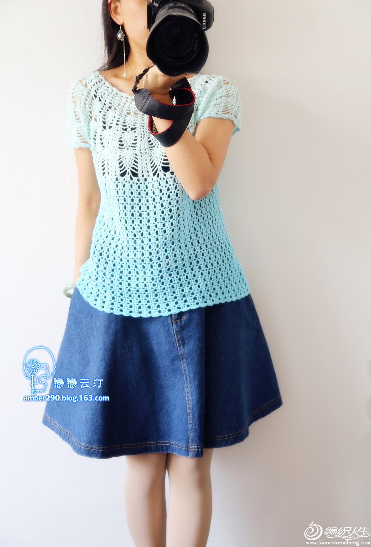 女士钩针菠萝花衣