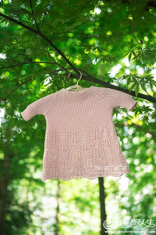 圈织儿童棒针棕榈花插肩衣
