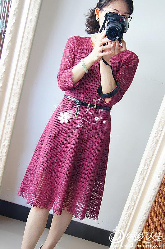 女士钩针中袖连衣裙