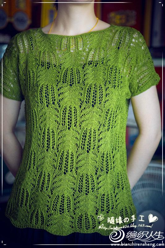 女士棒针短袖镂空衫