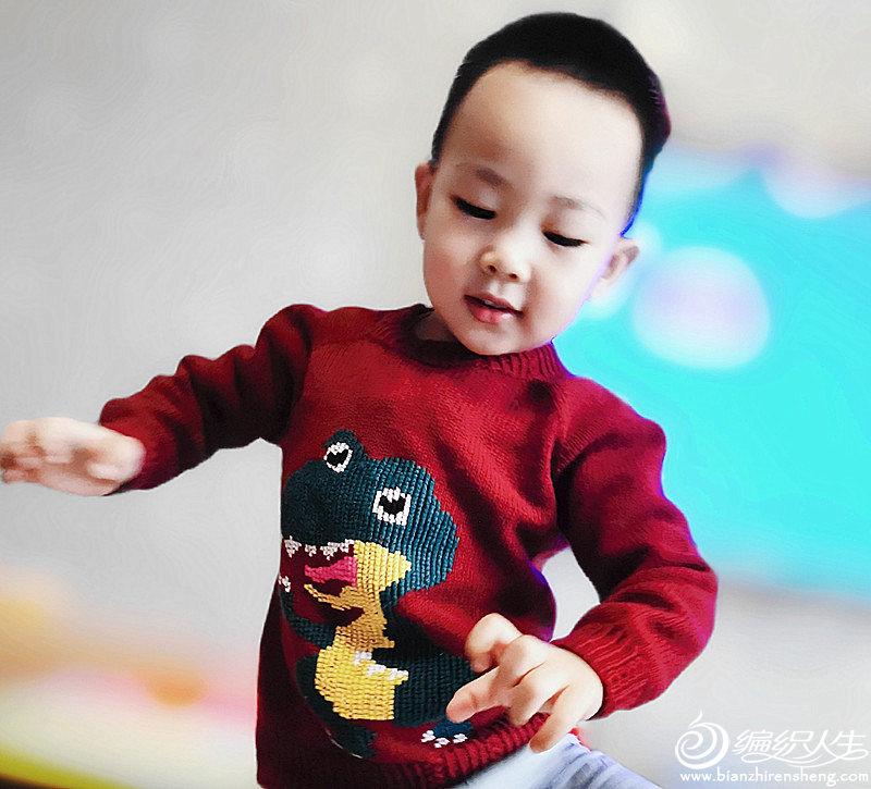 儿童棒针恐龙图案套头毛衣